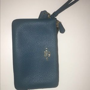 Blue coach hand wallet